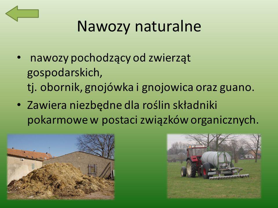 Nawozy naturalne nawozy pochodzący od zwierząt gospodarskich, tj. obornik, gnojówka i gnojowica oraz guano.