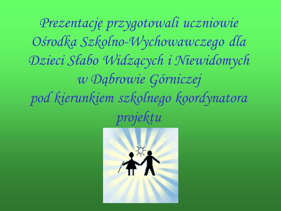 Prezentację przygotowali uczniowie Ośrodka Szkolno-Wychowawczego dla Dzieci Słabo Widzących i Niewidomych w Dąbrowie Górniczej pod kierunkiem szkolnego koordynatora projektu