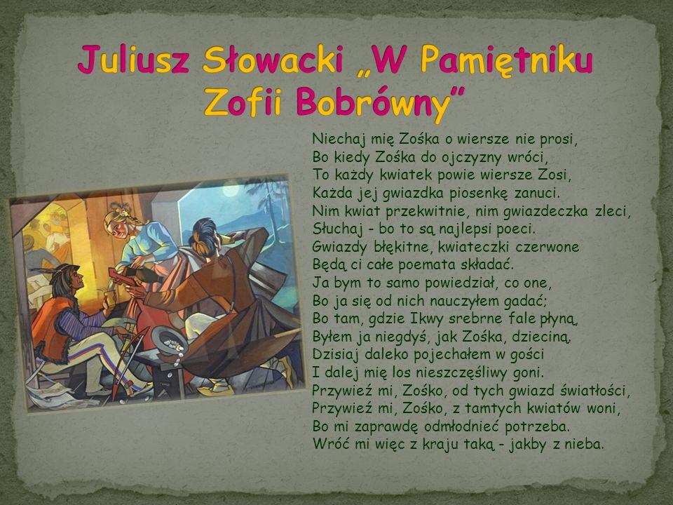 """Juliusz Słowacki """"W Pamiętniku Zofii Bobrówny"""
