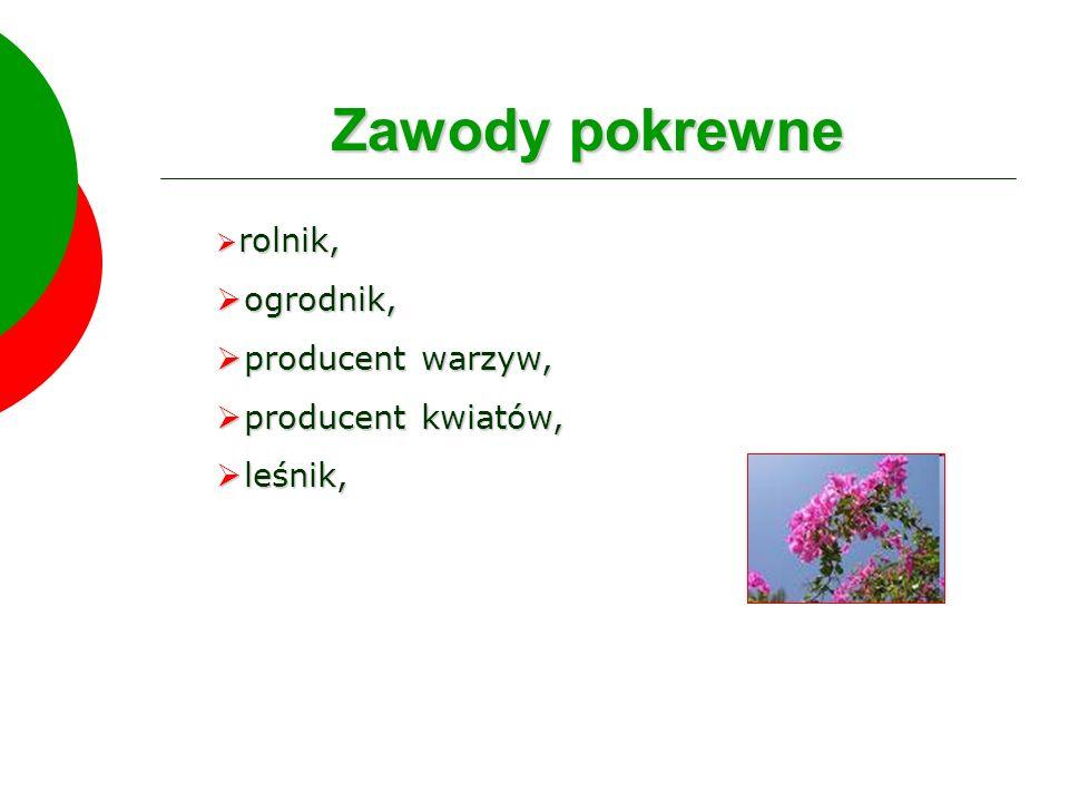 Zawody pokrewne ogrodnik, producent warzyw, producent kwiatów, leśnik,