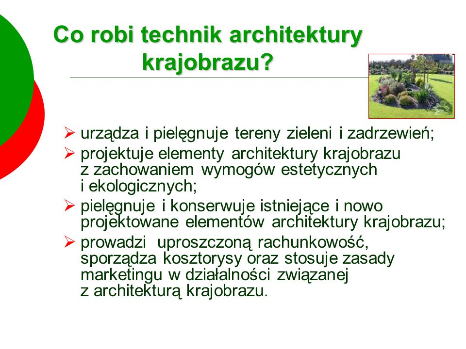 Co robi technik architektury krajobrazu