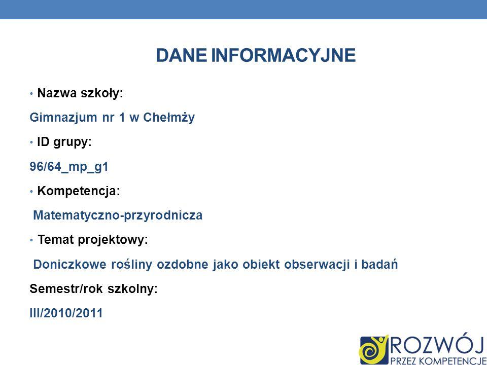 Dane INFORMACYJNE Nazwa szkoły: Gimnazjum nr 1 w Chełmży ID grupy: