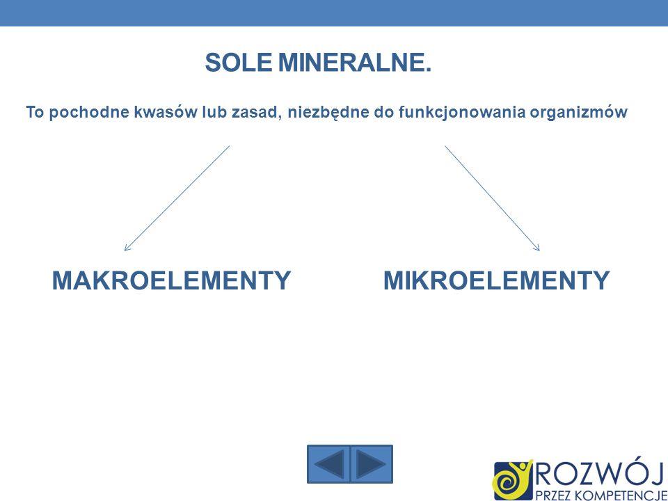 Sole mineralne. MAKROELEMENTY MIKROELEMENTY
