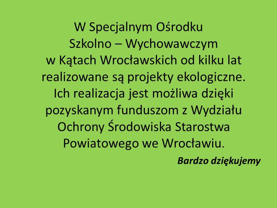 W Specjalnym Ośrodku Szkolno – Wychowawczym w Kątach Wrocławskich od kilku lat realizowane są projekty ekologiczne. Ich realizacja jest możliwa dzięki pozyskanym funduszom z Wydziału Ochrony Środowiska Starostwa Powiatowego we Wrocławiu.