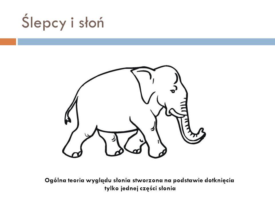 Ślepcy i słoń Ogólna teoria wyglądu słonia stworzona na podstawie dotknięcia.