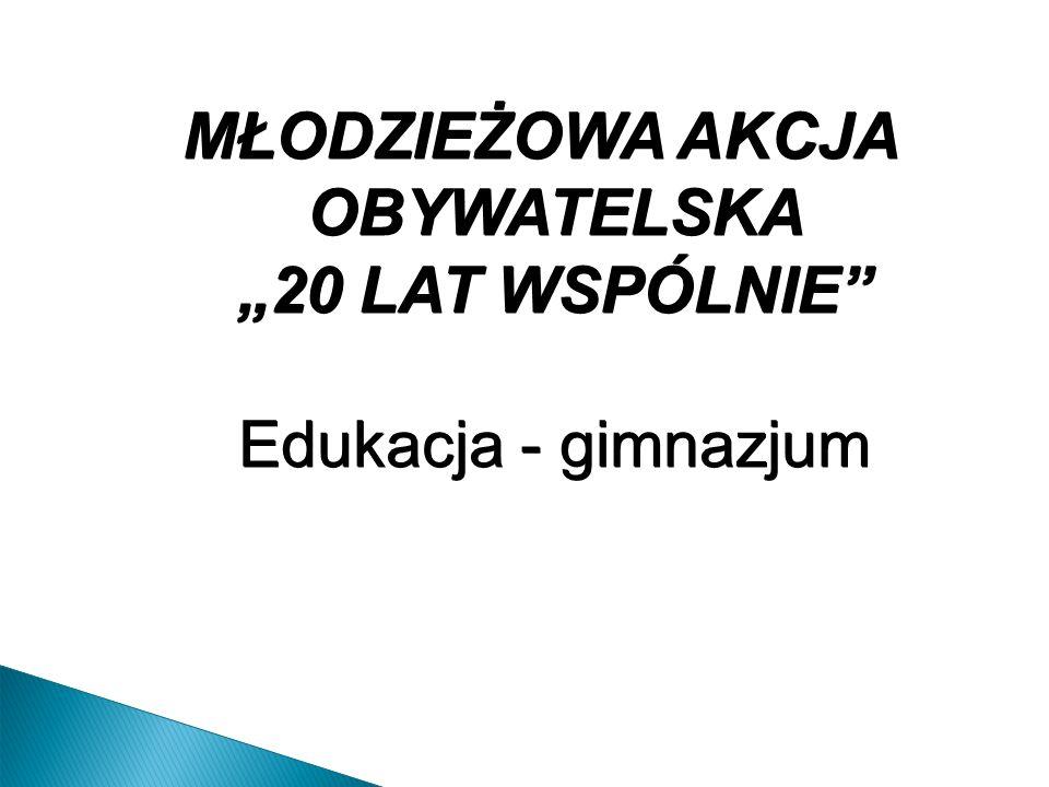 """MŁODZIEŻOWA AKCJA OBYWATELSKA """"20 LAT WSPÓLNIE Edukacja - gimnazjum"""