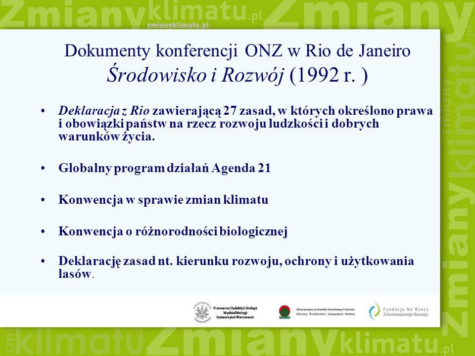 Dokumenty konferencji ONZ w Rio de Janeiro Środowisko i Rozwój (1992 r