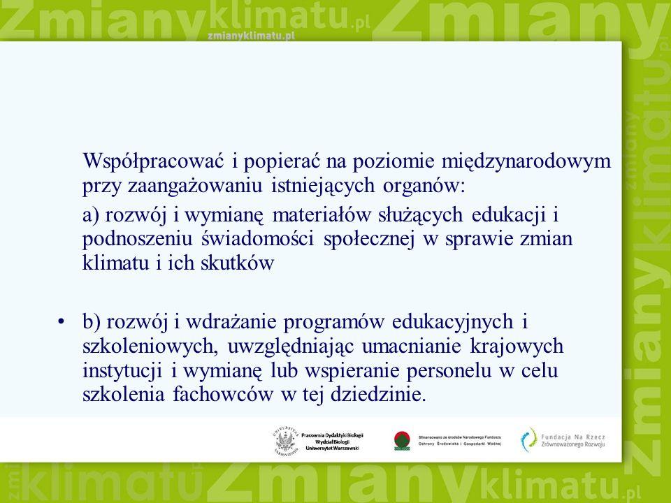 Współpracować i popierać na poziomie międzynarodowym przy zaangażowaniu istniejących organów: