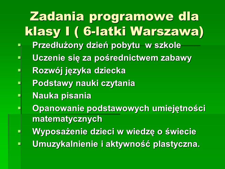 Zadania programowe dla klasy I ( 6-latki Warszawa)