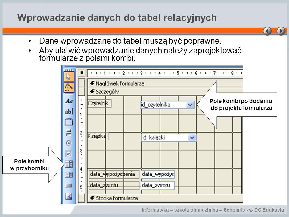 Wprowadzanie danych do tabel relacyjnych