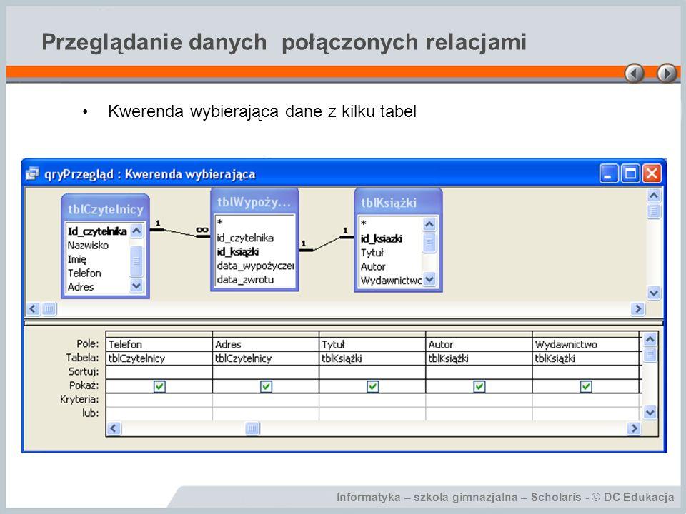 Przeglądanie danych połączonych relacjami