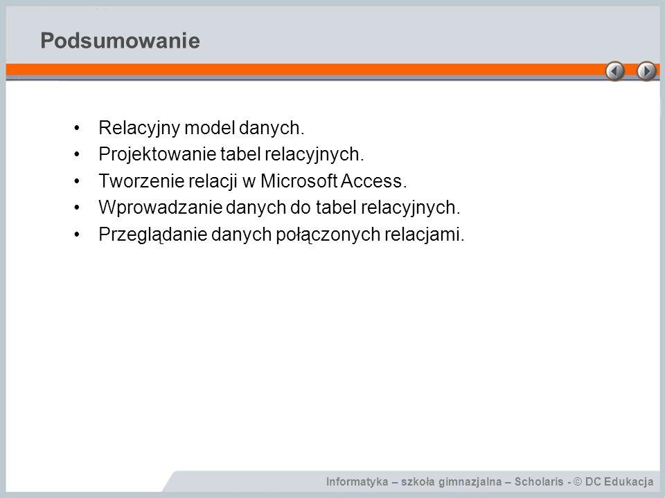 Podsumowanie Relacyjny model danych. Projektowanie tabel relacyjnych.