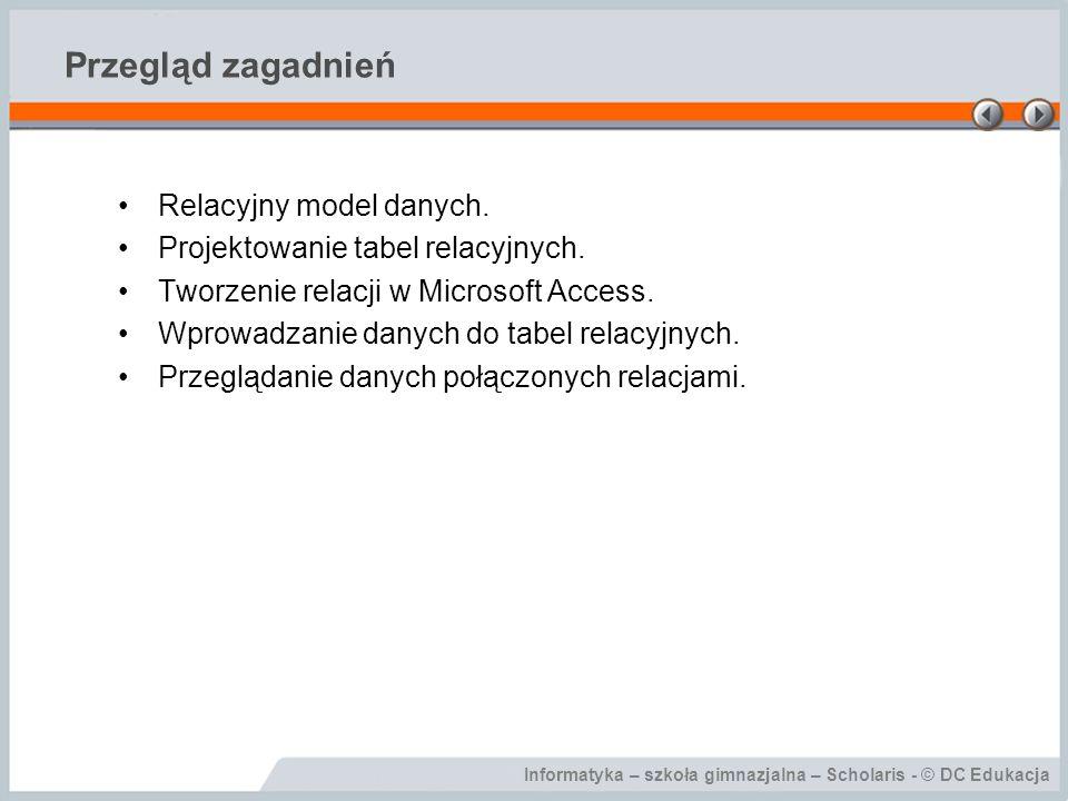 Przegląd zagadnień Relacyjny model danych.