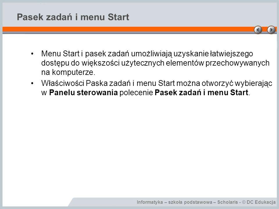 Pasek zadań i menu Start