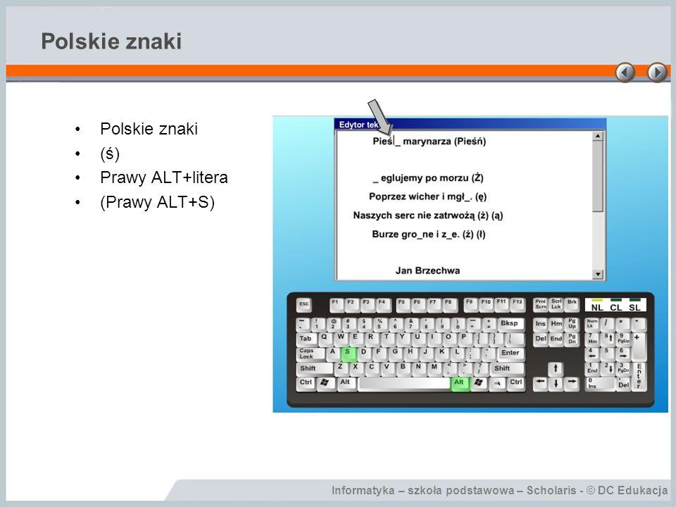 Polskie znaki Polskie znaki (ś) Prawy ALT+litera (Prawy ALT+S)