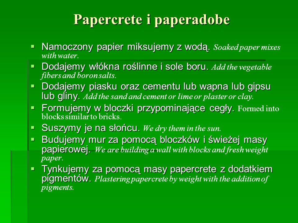 Papercrete i paperadobe