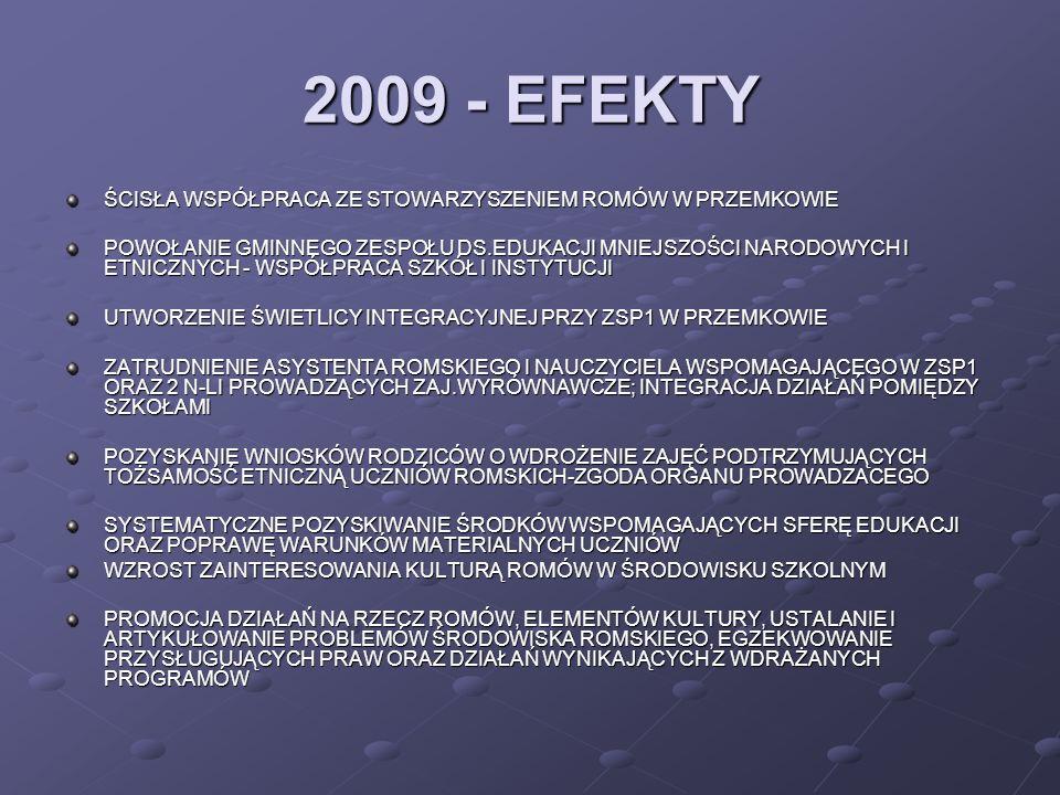 2009 - EFEKTY ŚCISŁA WSPÓŁPRACA ZE STOWARZYSZENIEM ROMÓW W PRZEMKOWIE