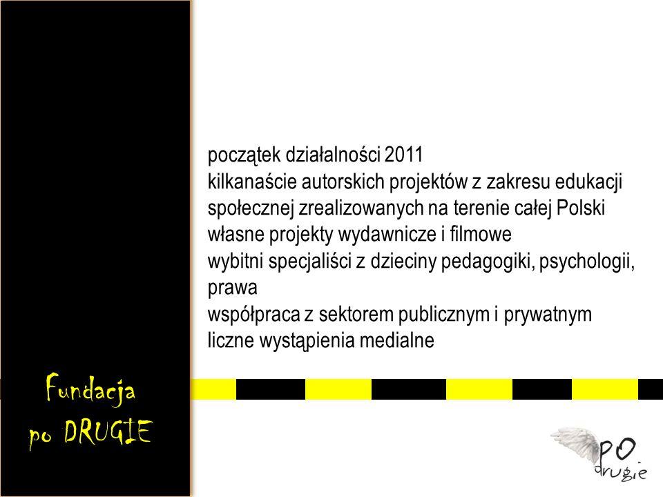 początek działalności 2011 kilkanaście autorskich projektów z zakresu edukacji społecznej zrealizowanych na terenie całej Polski własne projekty wydawnicze i filmowe wybitni specjaliści z dzieciny pedagogiki, psychologii, prawa współpraca z sektorem publicznym i prywatnym liczne wystąpienia medialne