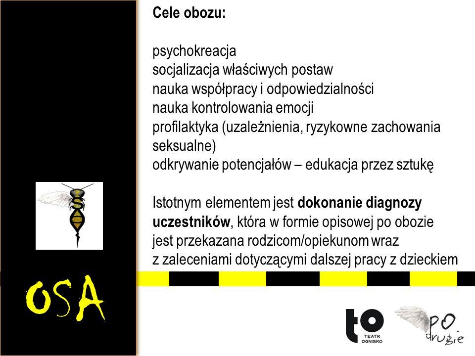 OSA Cele obozu: psychokreacja socjalizacja właściwych postaw