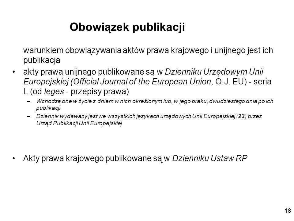 Obowiązek publikacji warunkiem obowiązywania aktów prawa krajowego i unijnego jest ich publikacja.
