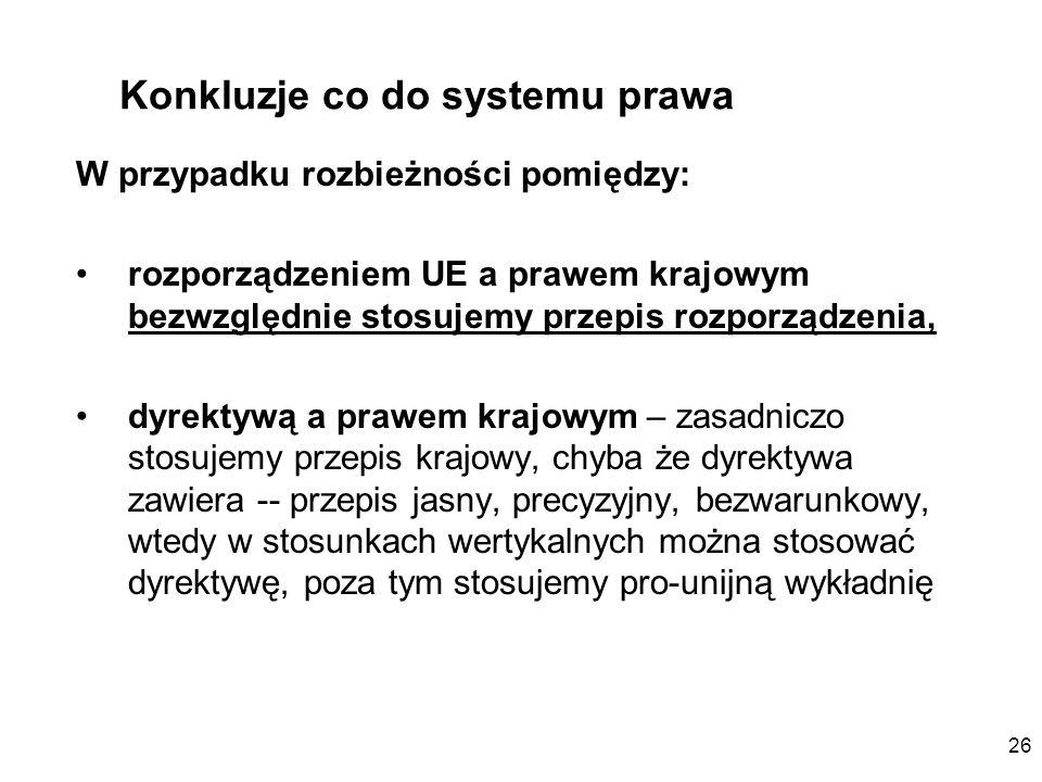 Konkluzje co do systemu prawa
