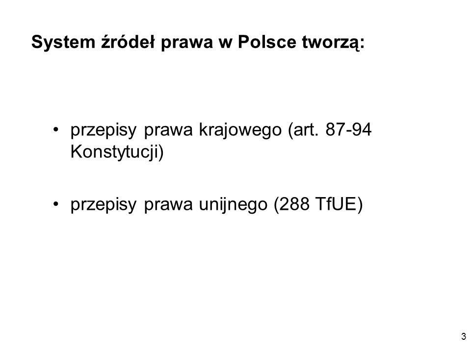 System źródeł prawa w Polsce tworzą: