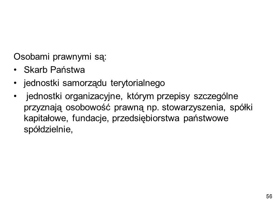Osobami prawnymi są: Skarb Państwa. jednostki samorządu terytorialnego.