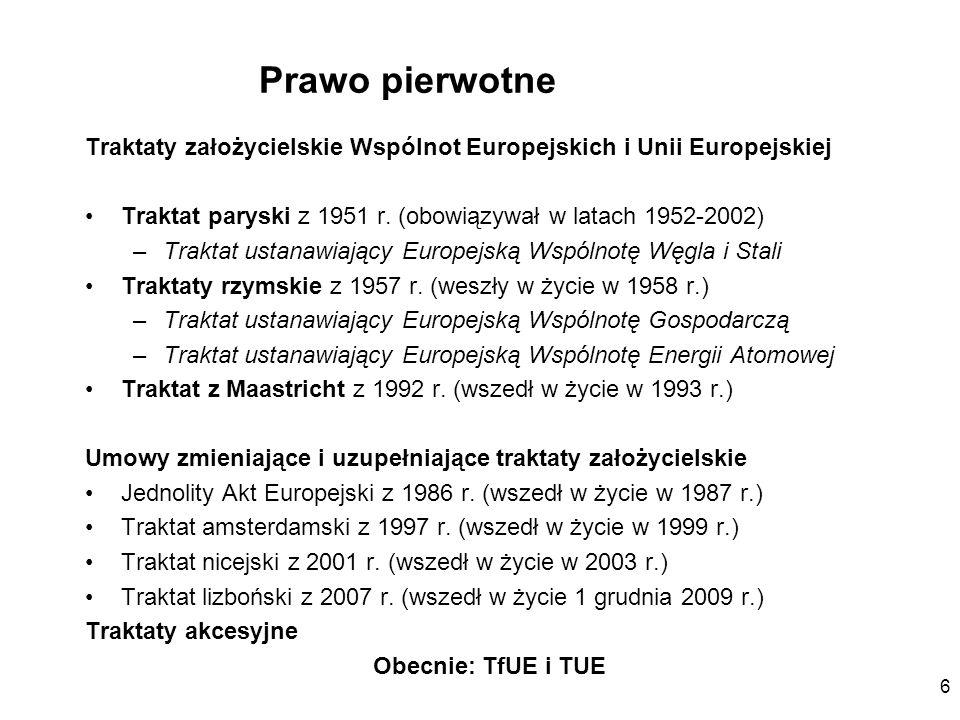 Prawo pierwotne Traktaty założycielskie Wspólnot Europejskich i Unii Europejskiej. Traktat paryski z 1951 r. (obowiązywał w latach 1952-2002)