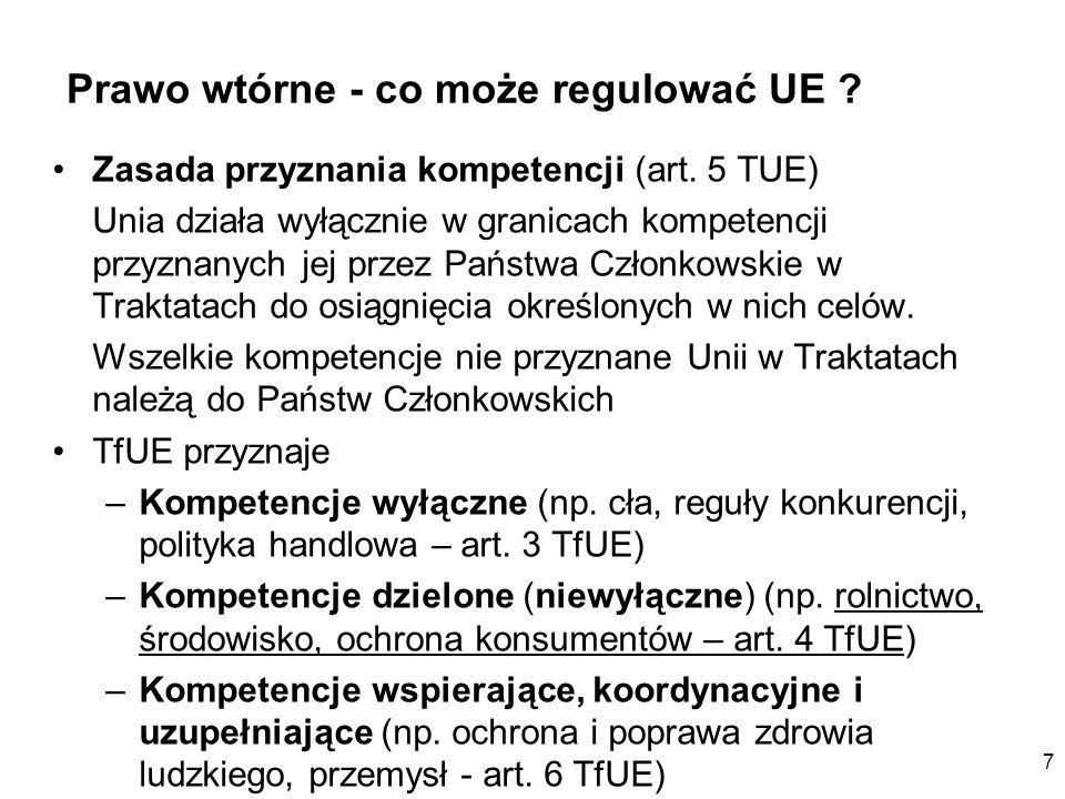 Prawo wtórne - co może regulować UE