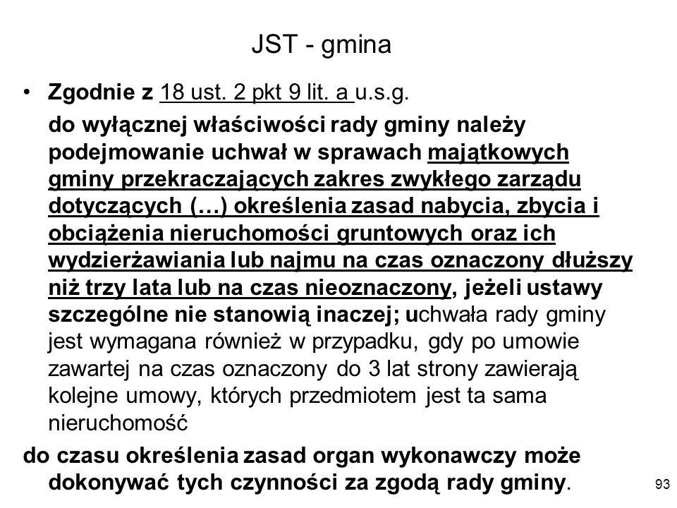 JST - gmina Zgodnie z 18 ust. 2 pkt 9 lit. a u.s.g.