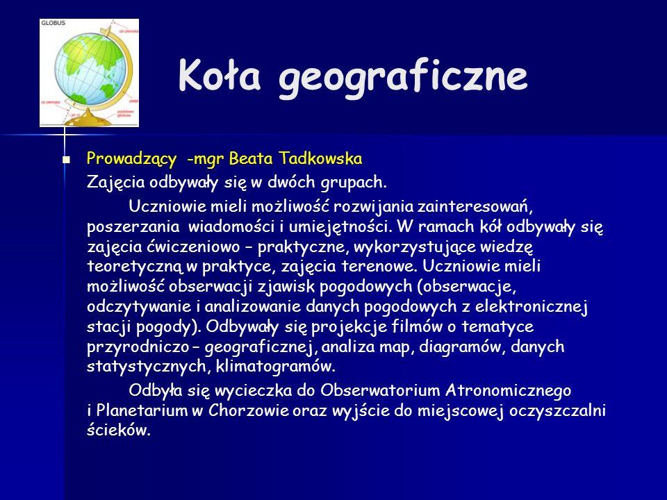 Koła geograficzne Prowadzący -mgr Beata Tadkowska