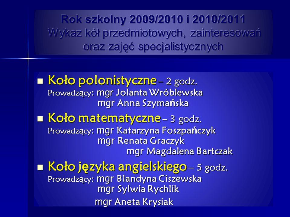 Rok szkolny 2009/2010 i 2010/2011 Wykaz kół przedmiotowych, zainteresowań oraz zajęć specjalistycznych