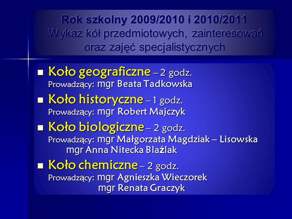 Koło geograficzne – 2 godz. Prowadzący: mgr Beata Tadkowska