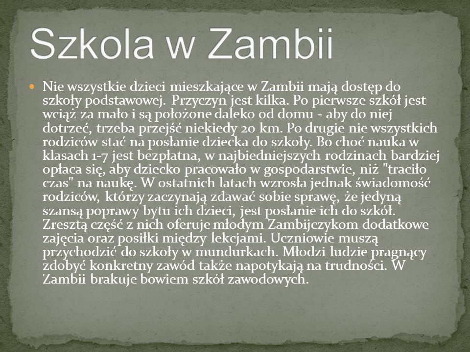 Szkola w Zambii