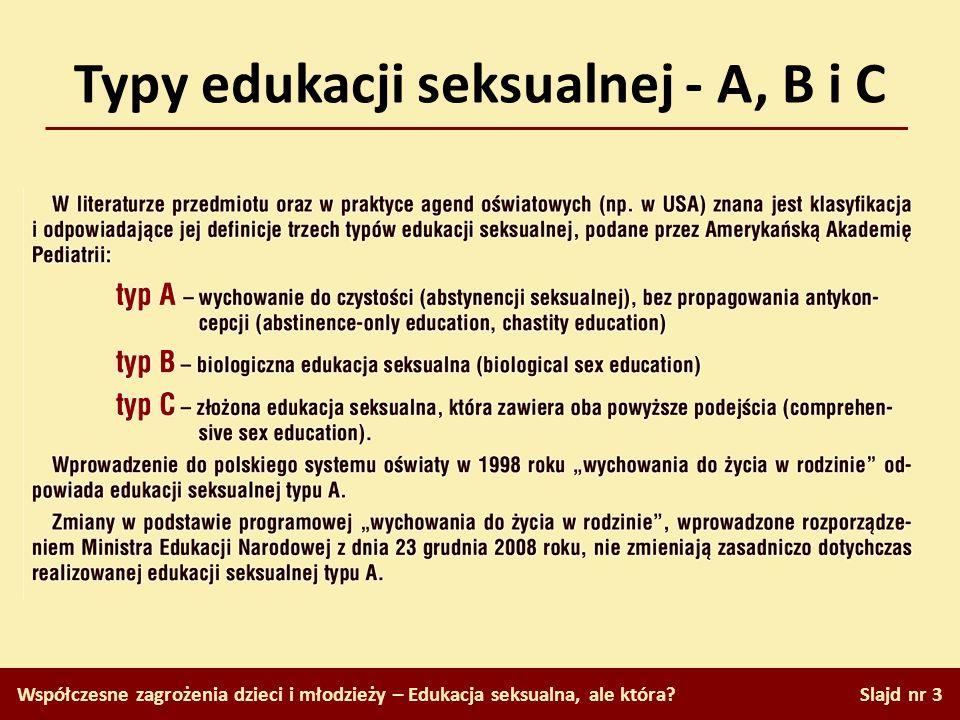 Typy edukacji seksualnej - A, B i C