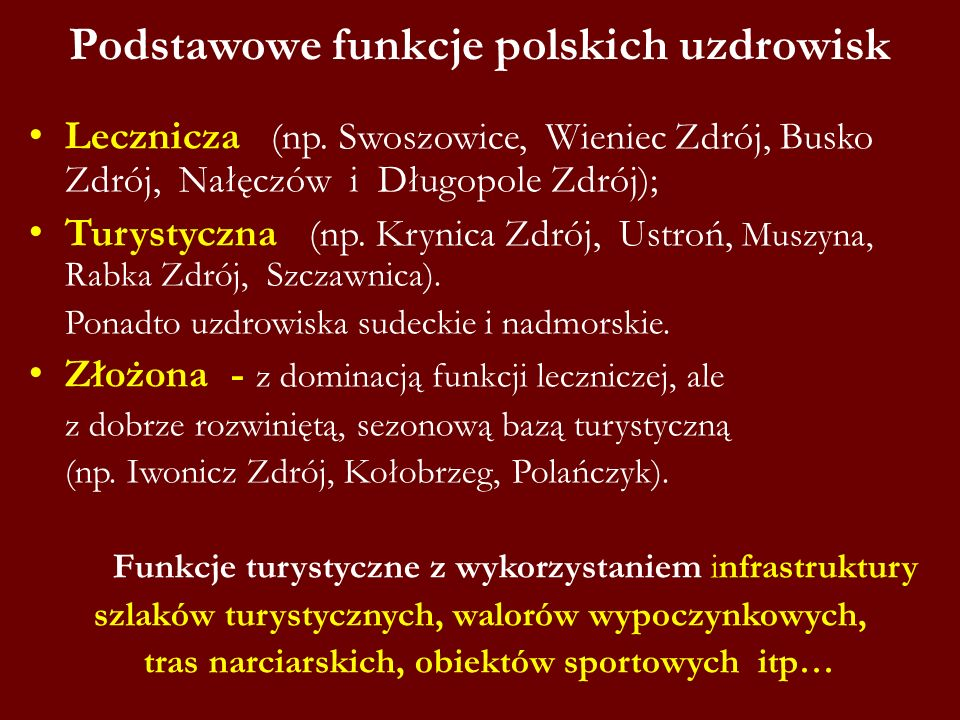 Podstawowe funkcje polskich uzdrowisk