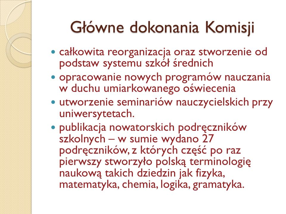 Główne dokonania Komisji