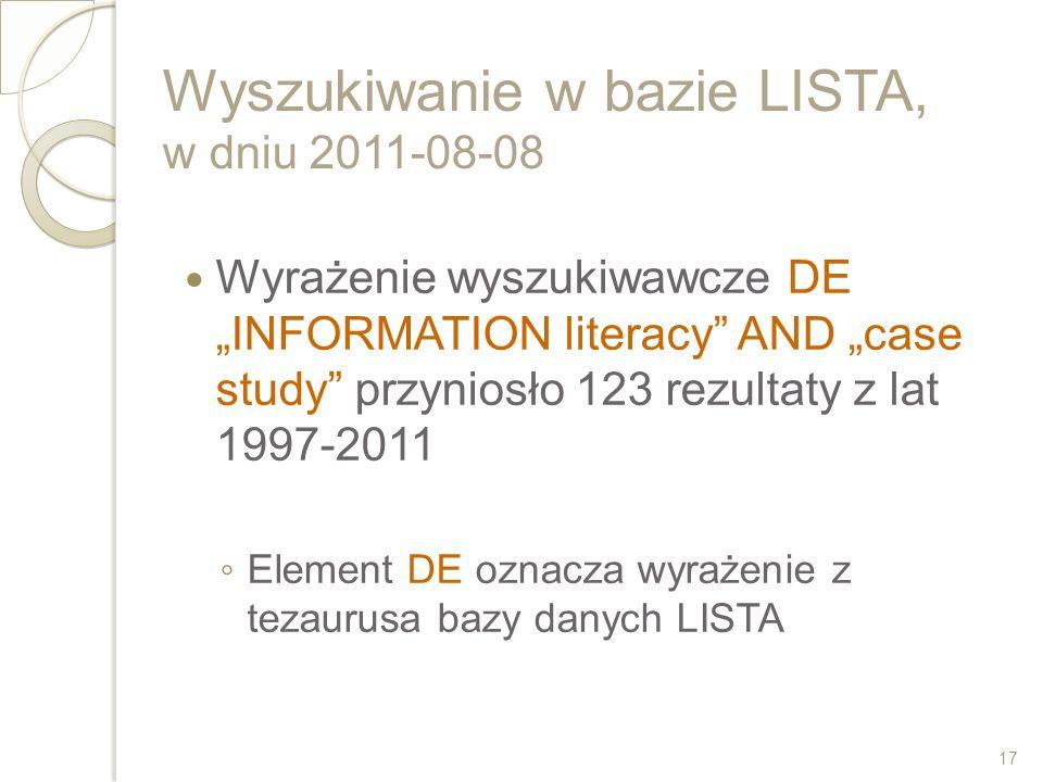 Wyszukiwanie w bazie LISTA, w dniu 2011-08-08