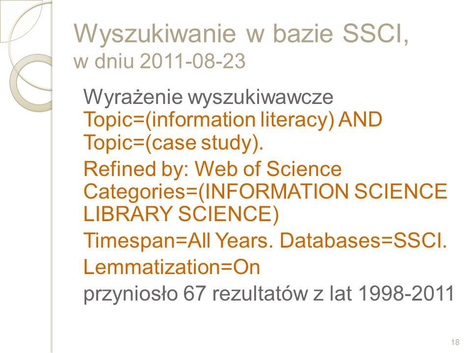 Wyszukiwanie w bazie SSCI, w dniu 2011-08-23