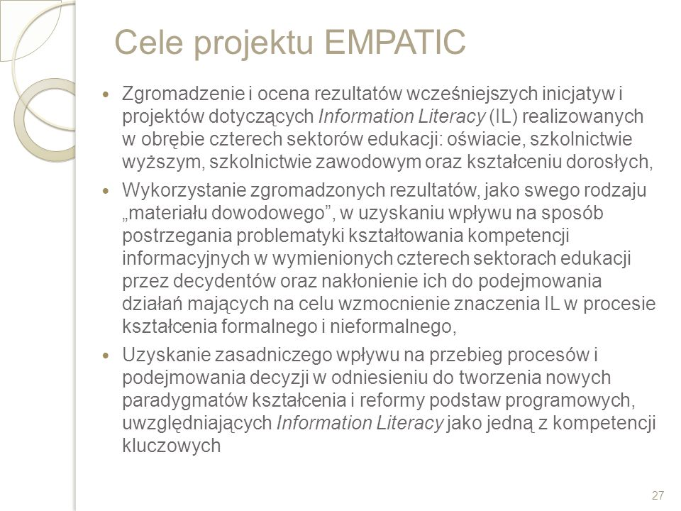 Cele projektu EMPATIC
