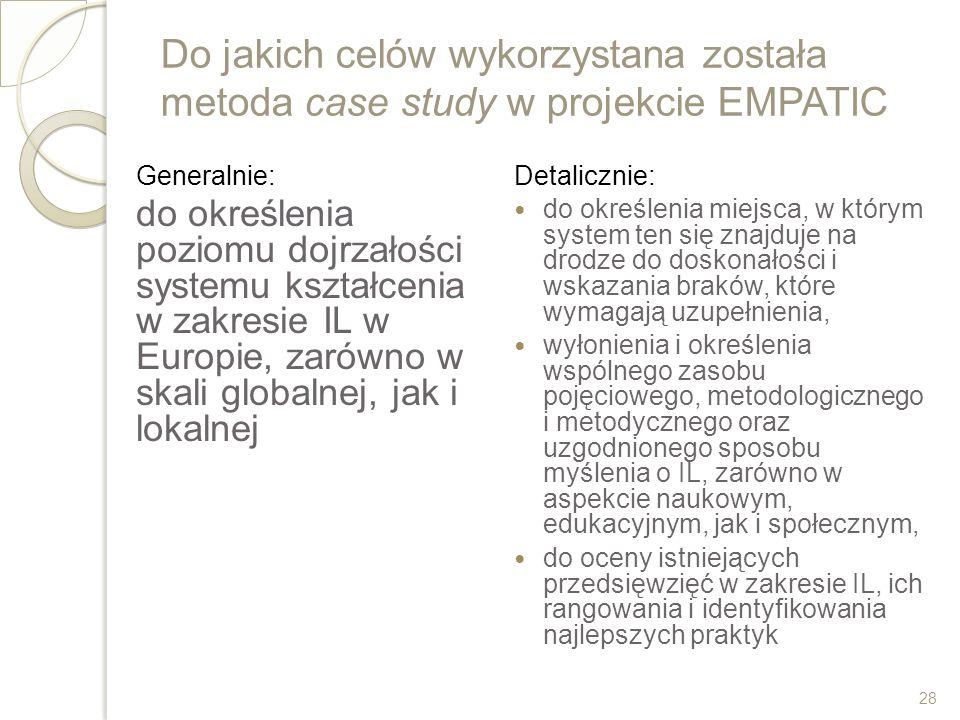 Do jakich celów wykorzystana została metoda case study w projekcie EMPATIC