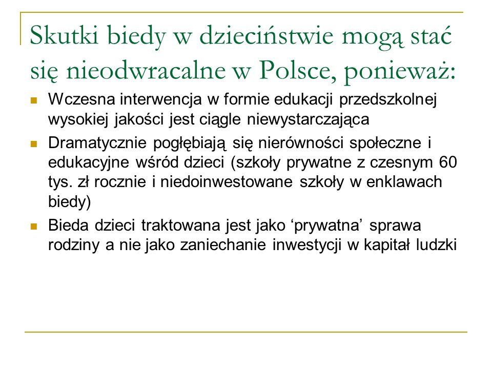Skutki biedy w dzieciństwie mogą stać się nieodwracalne w Polsce, ponieważ: