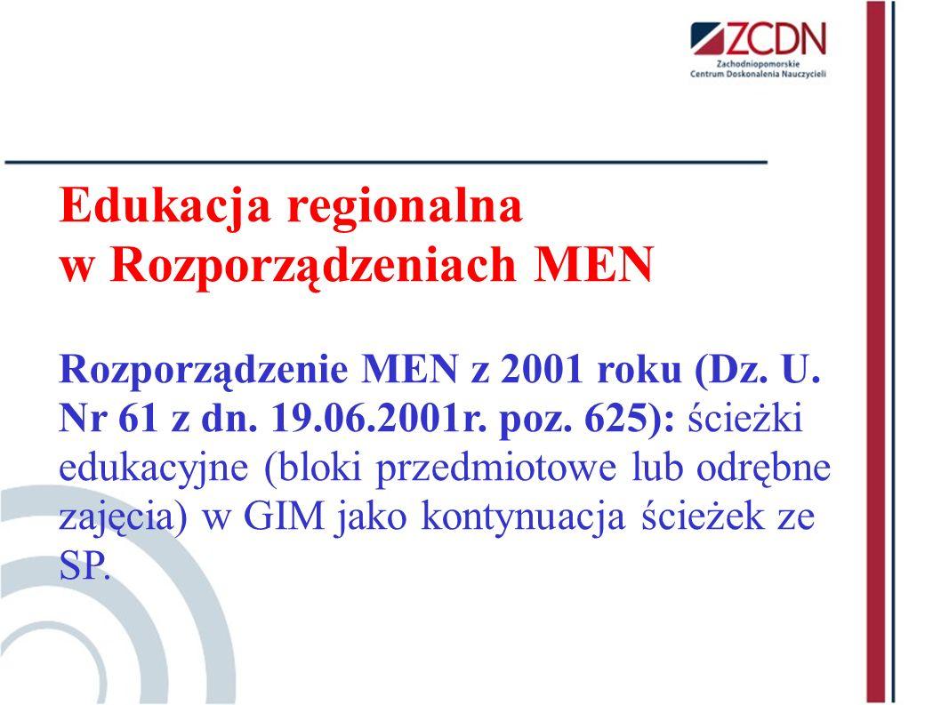w Rozporządzeniach MEN