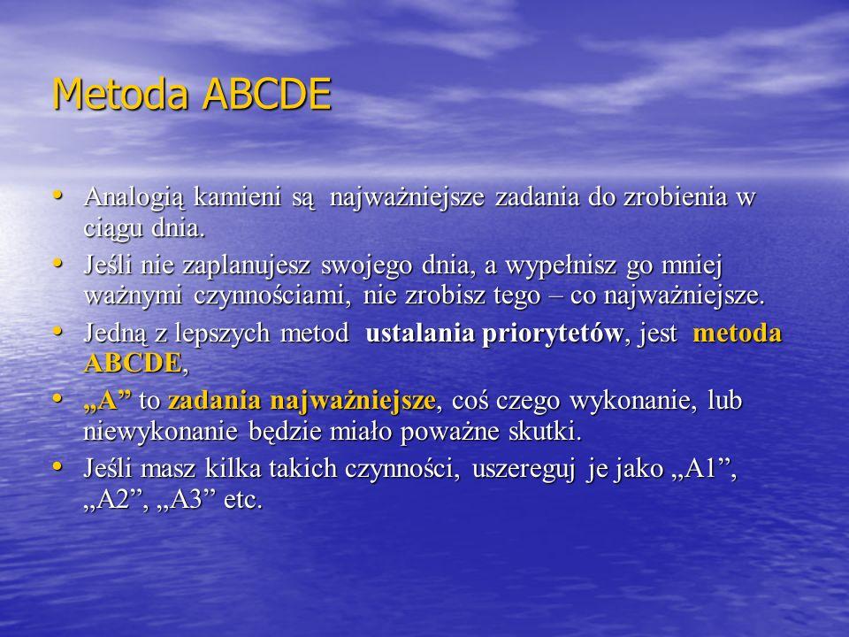 Metoda ABCDE Analogią kamieni są najważniejsze zadania do zrobienia w ciągu dnia.