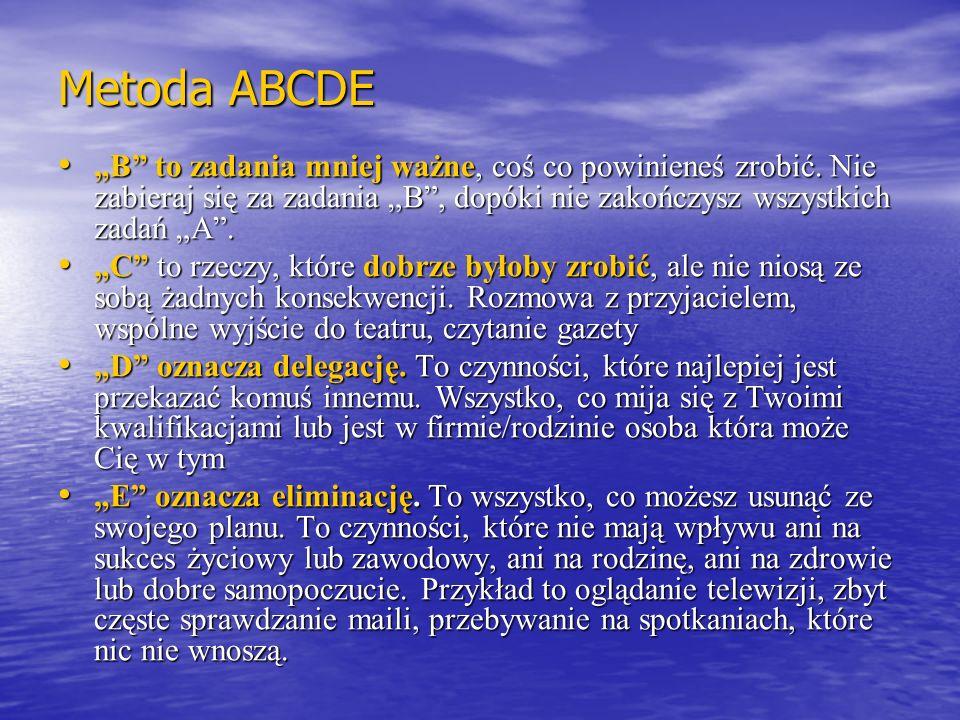 """Metoda ABCDE """"B to zadania mniej ważne, coś co powinieneś zrobić. Nie zabieraj się za zadania """"B , dopóki nie zakończysz wszystkich zadań """"A ."""