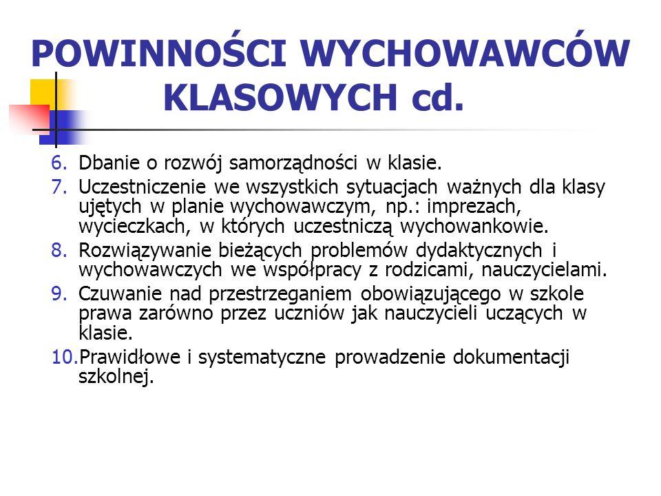 POWINNOŚCI WYCHOWAWCÓW KLASOWYCH cd.