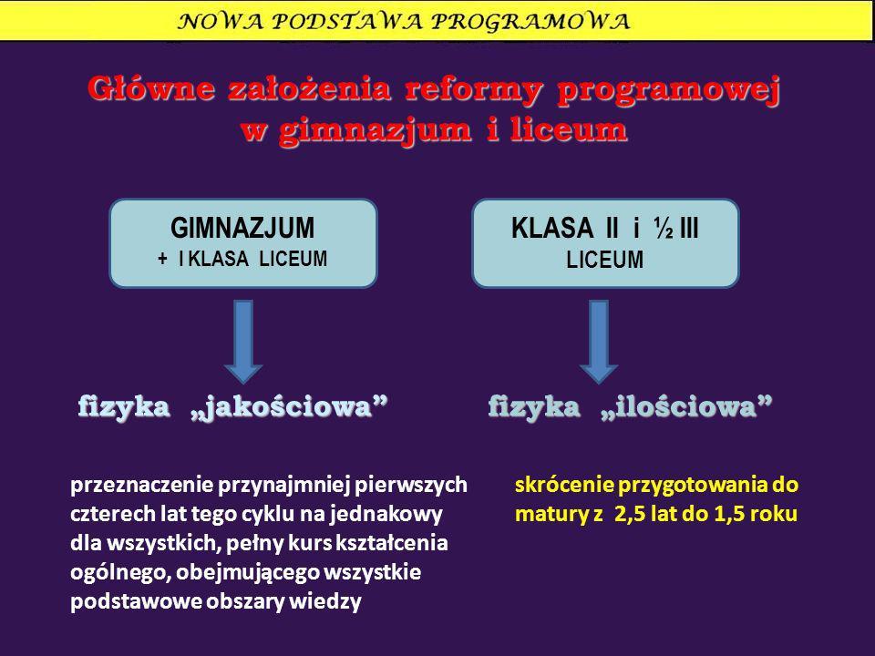 Główne założenia reformy programowej w gimnazjum i liceum