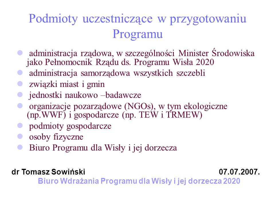 Podmioty uczestniczące w przygotowaniu Programu