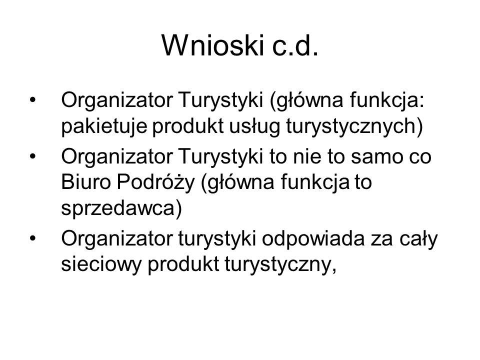 Wnioski c.d. Organizator Turystyki (główna funkcja: pakietuje produkt usług turystycznych)