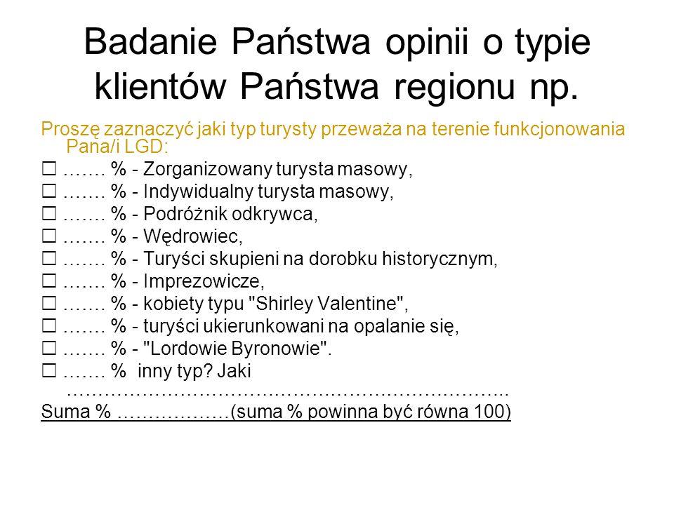 Badanie Państwa opinii o typie klientów Państwa regionu np.